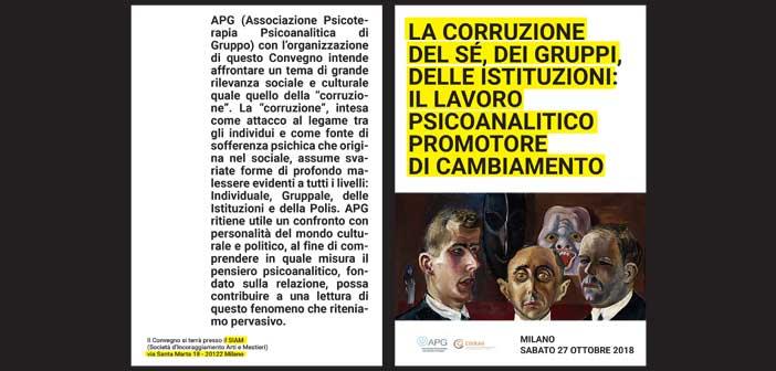 27 OTTOBRE 2018 – La corruzione del sé, dei gruppi, delle istituzioni: il lavoro psicoanalitico promotore di cambiamento